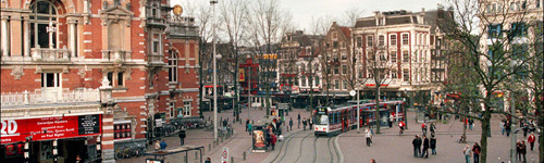 October 26, 2014. Amsterdam, the Netherlands. The Leidseplein square at  night in